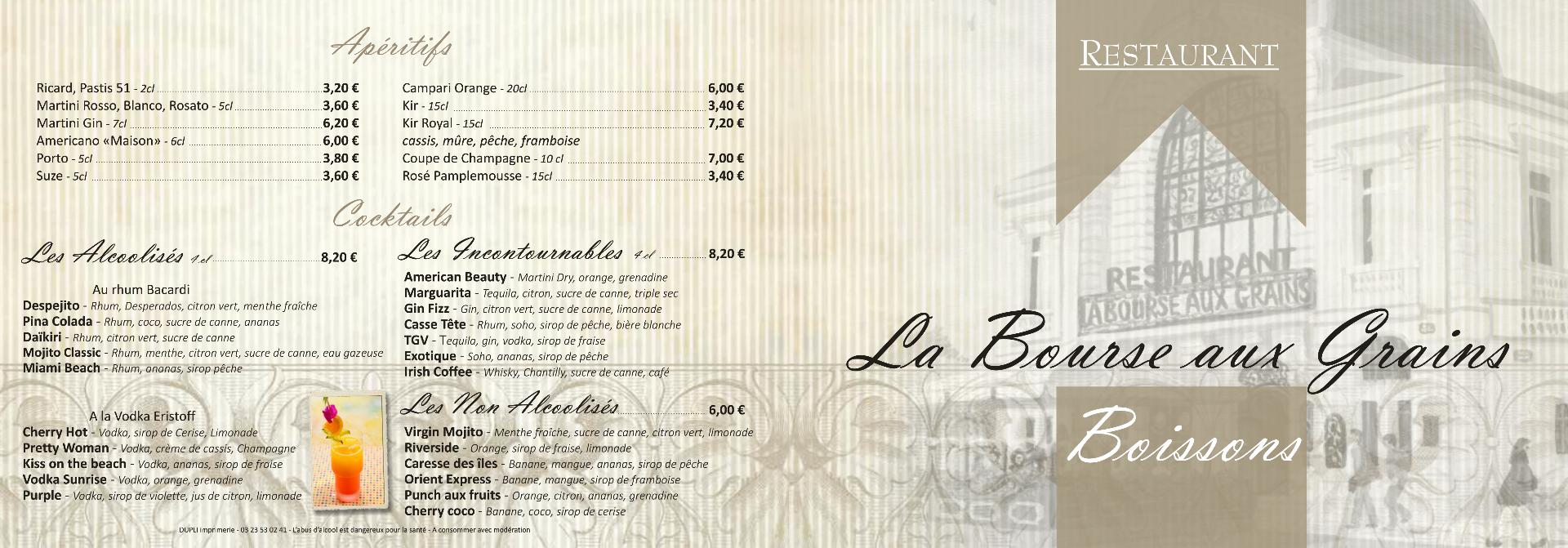 Restaurant Soissons La Bourse Aux Grains : Carte des Boissons
