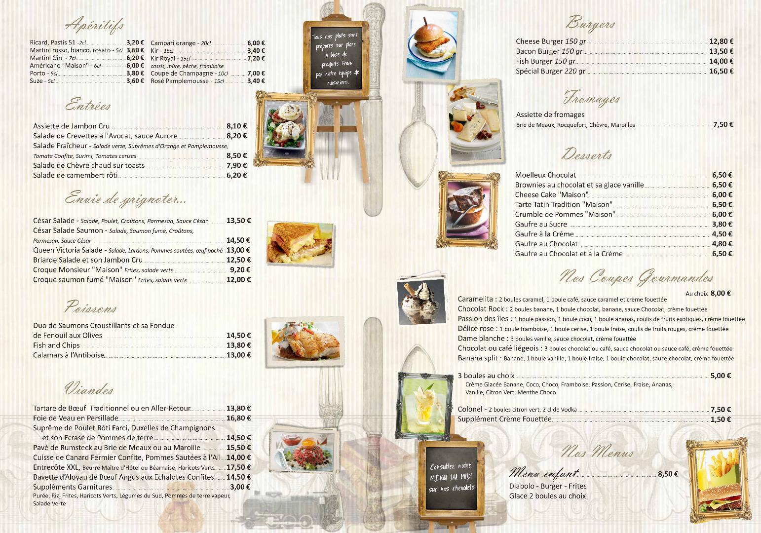 Restaurant Soissons La Bourse Aux Grains : Carte des menus verso
