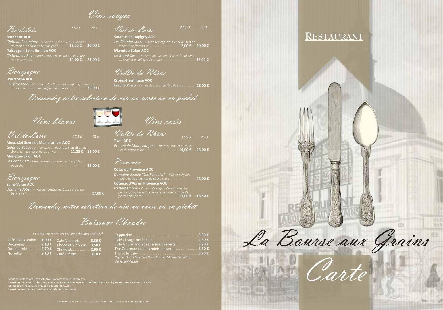 Restaurant Soissons La Bourse Aux Grains : Carte des menus recto