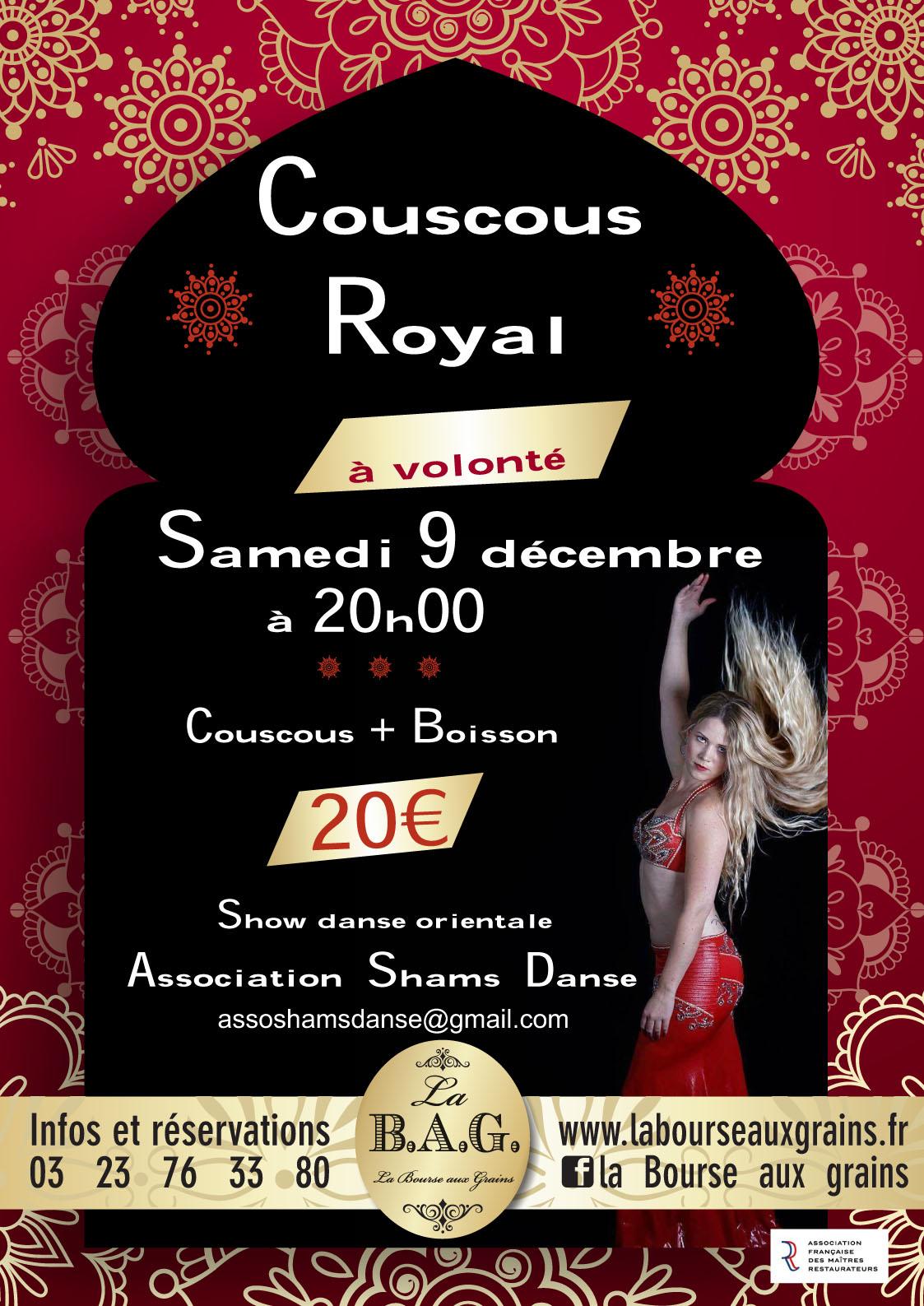 Restaurant Soissons : Soirée Couscous Royal 9 décembre 2017